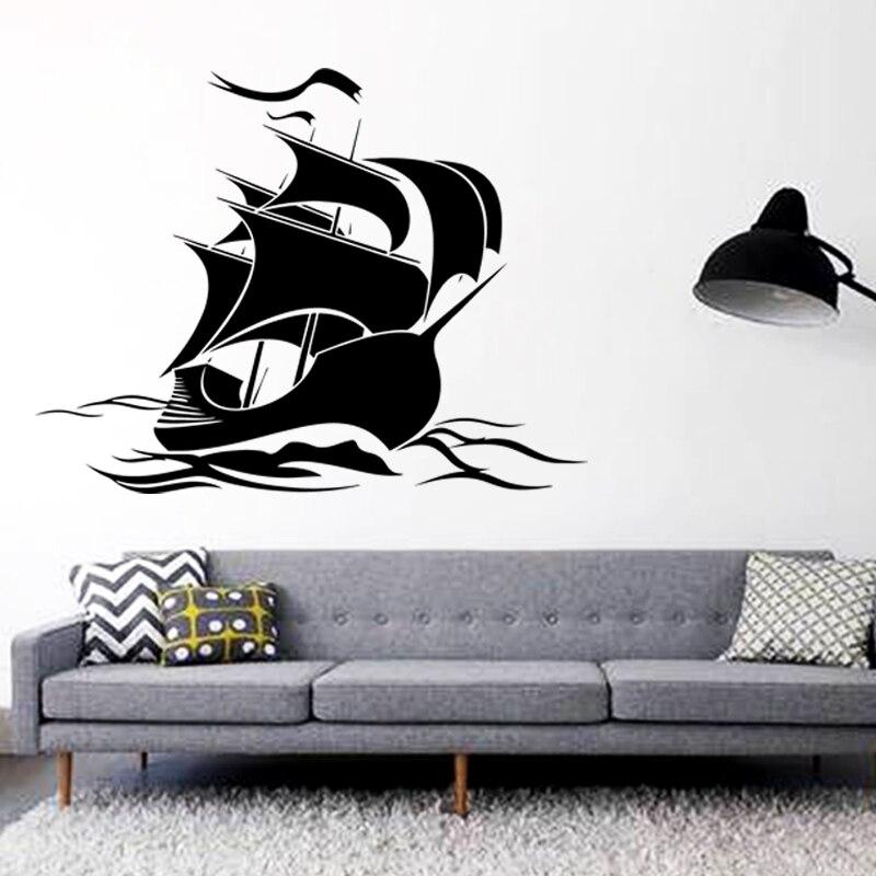 Kunst design billige haus dekoration vinyl segelboot wandaufkleber abnehmbare PVC haus dekor...