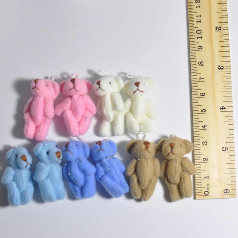 6 pc super kawaii mini 4cm joint bowtie ursinho de pelúcia crianças brinquedos bonecas recheadas presente de casamento para crianças 2019
