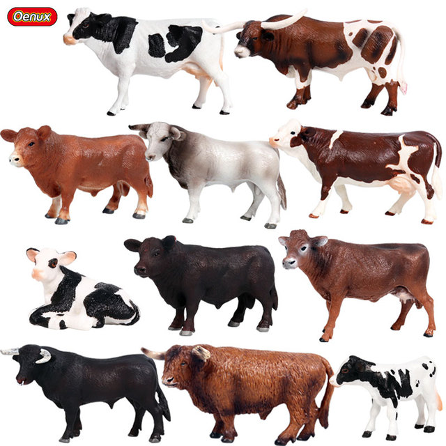 Oenux Original Farm Animals Model Simulation Cattle Cow Calf Bull OX PVC Animal Action Figure Collection Educational Toy For Kid