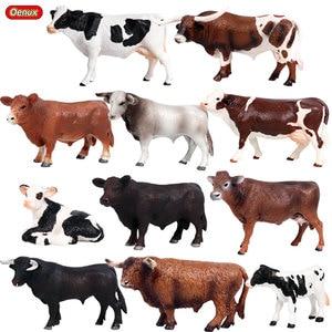 Image 1 - Фигурка животного Oenux из ПВХ для детей, фигурка из икры крупного рогатого скота, икры быка, из ПВХ, развивающая игрушка