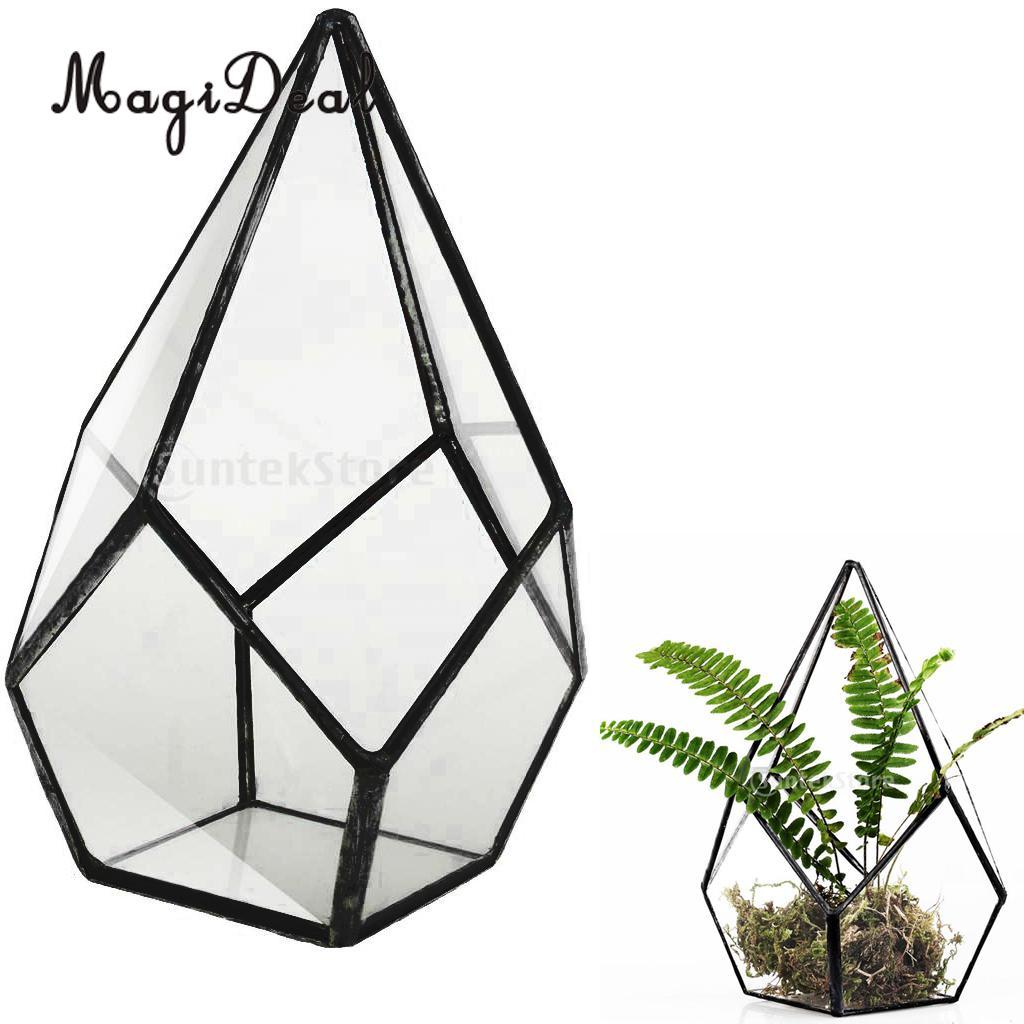 MagiDeal Diamond Clear Glass & Metal Geometric Terrarium Succulent Planter Tea Light Container Jewelry Holder Black