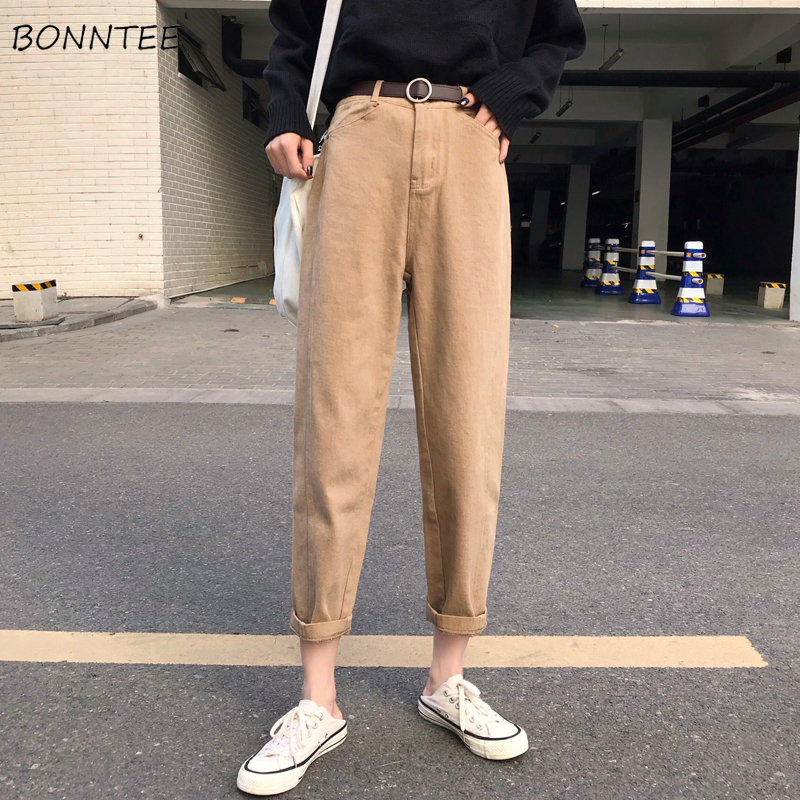 Jeans Women Solid Trendy Elegant All-match High-quality Korean Style Loose Leisure Daily Womens Female Lovely Students 2019 New