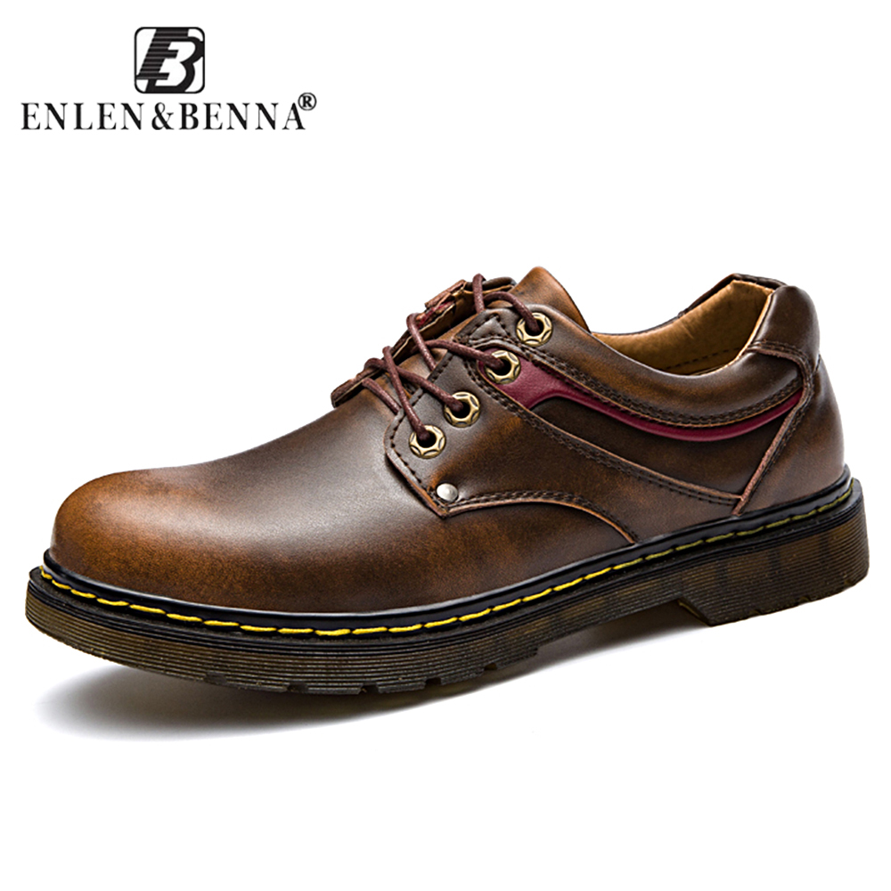 Casual Men Shoes Lace-Up Autumn and Winter Oxfords Leather Round Toe Vintage Italian Flats Sapato