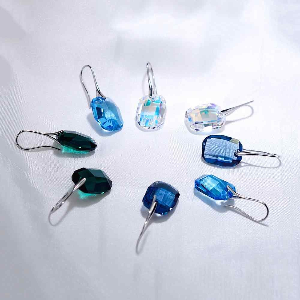 BAFFIN Original Crystals From Swarovski Square Drop Earrings Big Hanging Pendientes For Women Silver Color Statement Jewelry