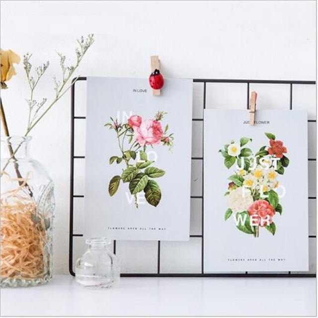 PC059 30pcs Lot Fresh Flower Drawing Postcard Set Greeting Cards X Mas Birthday Card Gift