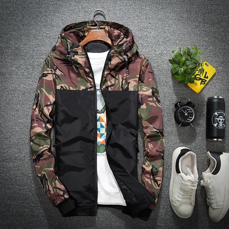 cbfa9824297d2 2018 Men Jacket Thin Slim Long Sleeve Camouflage Military Jackets Hooded  Windbreaker Zipper Outwear Army Brand