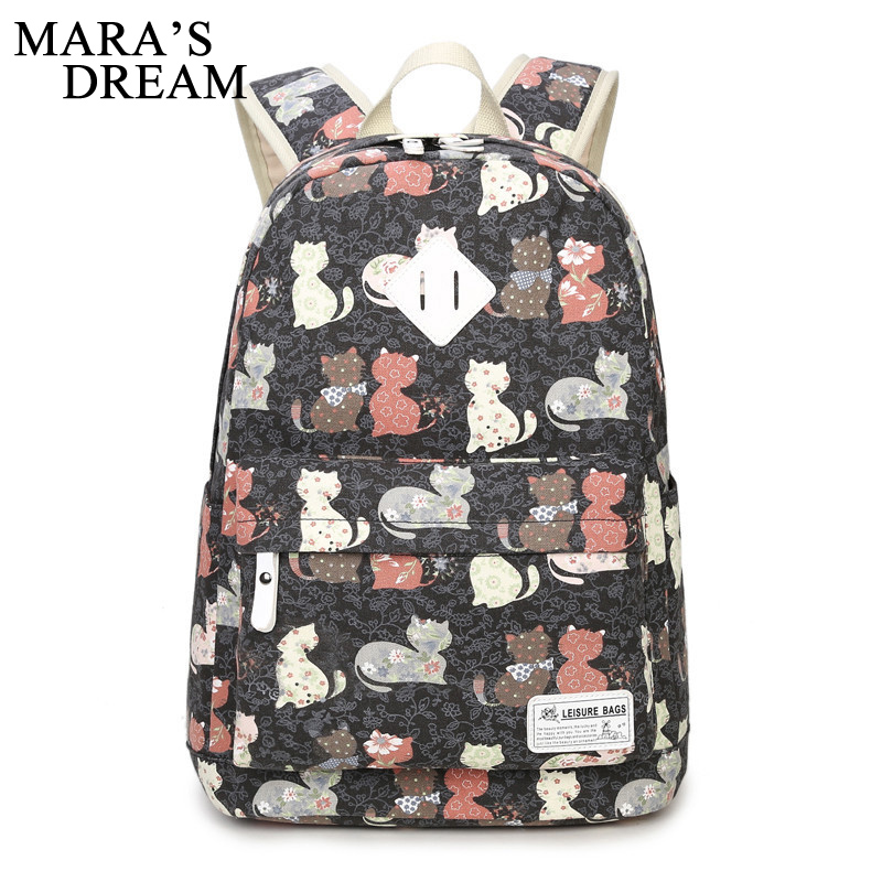 Mara' s Dream 2017 Women Canvas Backpacks Large Capacity Printed Cartoon Cat School Bags For Teenagers Girls Rucksack Travel Bag датчик движения ddv 1 r39 360гр встраиваемый белый