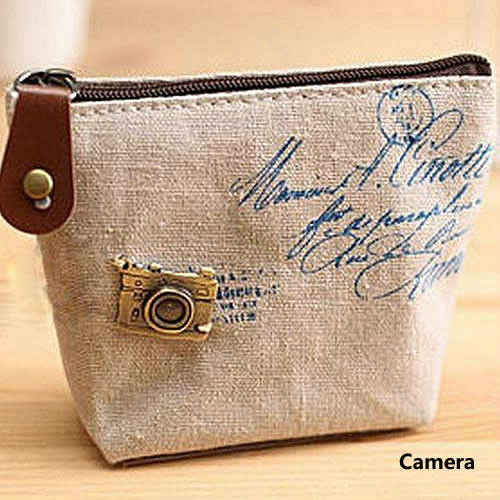 Mini monedero de la moneda de las señoras de París retro lona pequeña cremallera cambio monedero conveniente llave coche bolsa de dinero