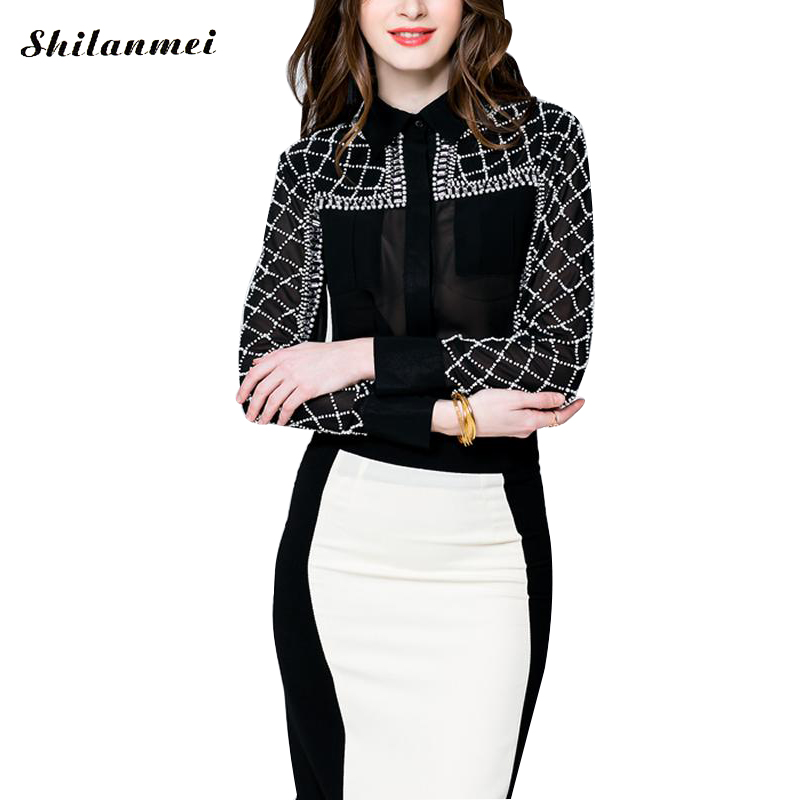 Women's Blouses Full Sleeve Beading Sexy See-Through novely 2017 Summer Female Top Office Wear Blouse Shirt Fashion New
