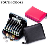 df26b436e SOUTH GOOSE Genuine Leather Women Zipper Credit Card Holder RFID Anti Theft  Card Package Men Travel