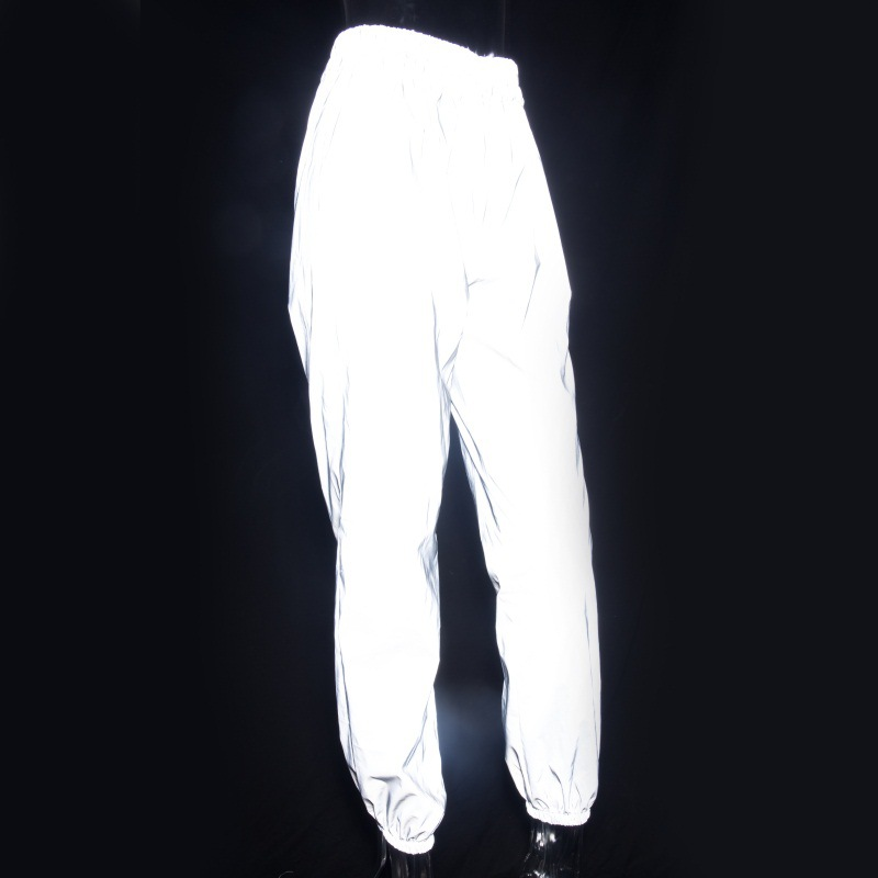 Light Reflective Cloth Women Casual Pants Summer High Waist Pant Skinny Ankle Banded Pants Female Elastic Waist Work Trousers