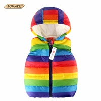Autumn Boy Vests Jacket Kids Clothes Rainbow Striped Fashion Children Clothing Girl Hooded Waistcoat Casual Baby