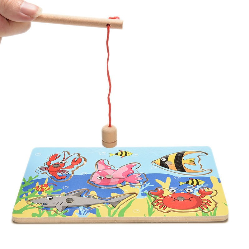 Jigsaw Puzzle Wooden Ocean Fish Board Magnetic Stick Rod Children Fishing Game Outdoor Fun Toy For Kids Educational 18cm in Fishing Toys from Toys Hobbies