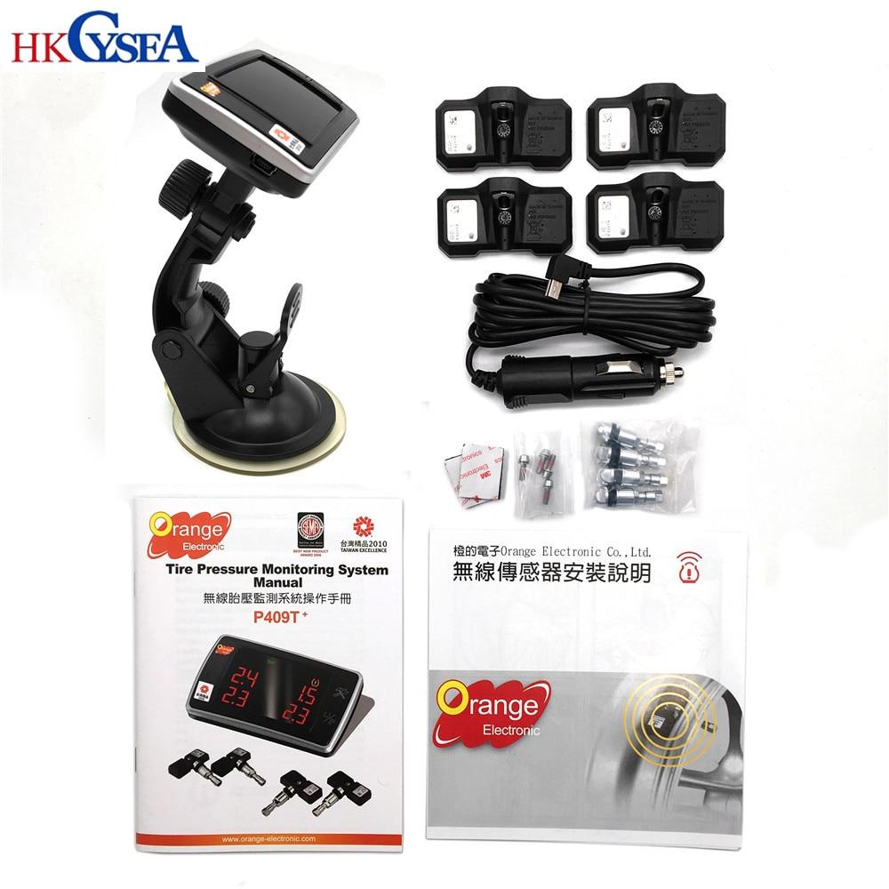 Original Orange TPMS P409S P409T 4 Wheel Vehicle Wireless Car Electronic Tire Pressure Monitoring System