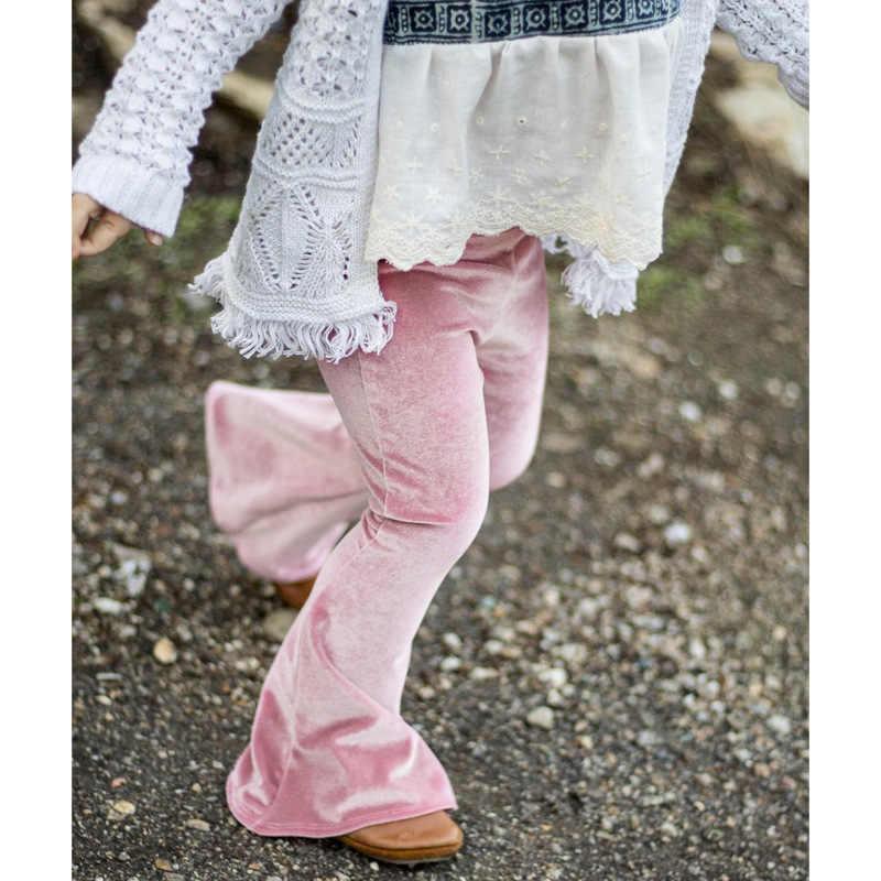 2018ทองกำมะหยี่แฟชั่นบางF Lareกางเกงสาวฝ้ายซอฟท์ตัดบูตกางเกงเอวยางยืดสาวอังกฤษกางเกงสีทึบ