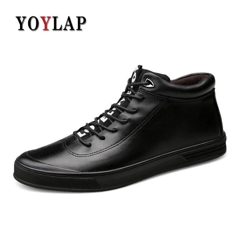 2018 New 100% Genuine Leather Shoes Men Waterproofs Warm Winter Shoes Men Black Luxury Spring Autumn Men Casual Shoes High-Tops mulinsen new 2017 autumn winter men