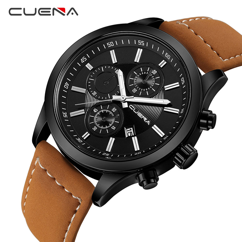 CUENA Fashion Male Clock Mens Watches Top Brand Luxury Quartz Watch Leather Calendar Waterproof Wristwatches Relogio Masculino men fashion quartz watch mans full steel sports watches top brand luxury cuena relogio masculino wristwatches 6801g clock
