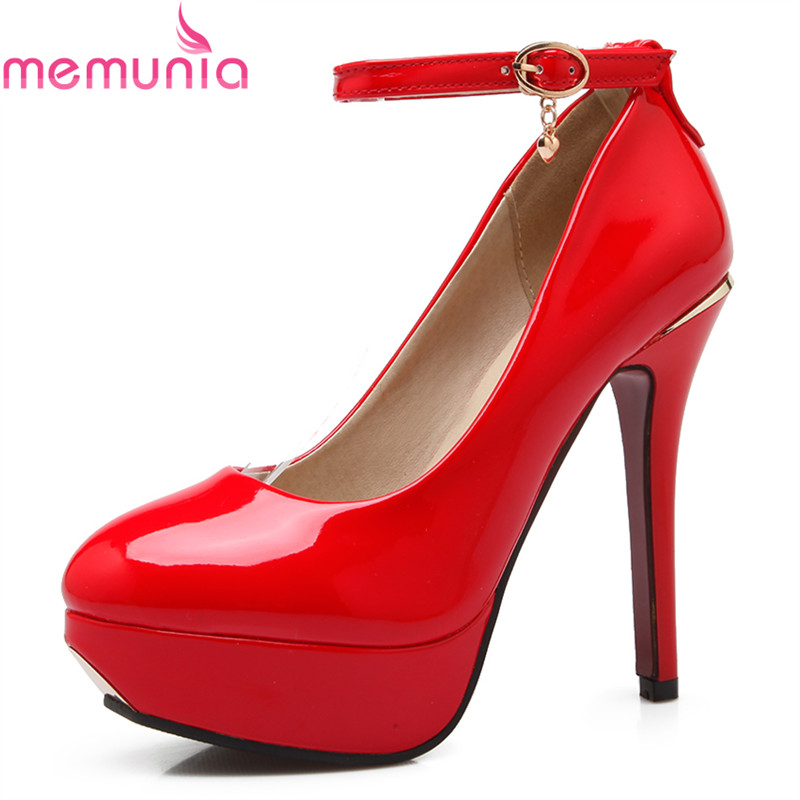 MEMUNIA hot sale 2018 fashion platform shoes stiletto high heels round toe high quality patent leather buckle women pumps memunia new arrive hot sale genuine