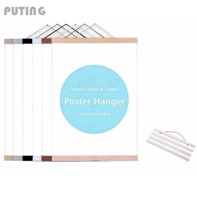 Wooden Frame Poster Picture Hanger Vintage Craft DIY Wall Art Decor Simplify Creative Frame with Handle Hanging Scroll