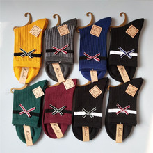 Stripe Socks Women cotton Bow Design funny casual cute Happy Fashion Solid color socks sox Japan College Style