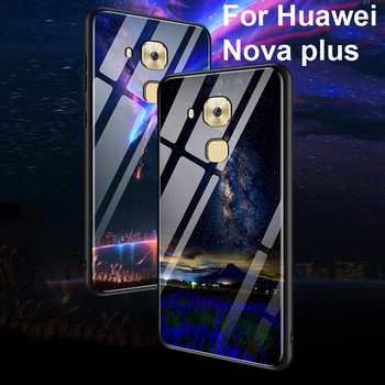 Coque For Huawei Nova plus case Luxury tempered glass + soft edge back cover 5.5''For Huawei novaplus cases glass phone shell image