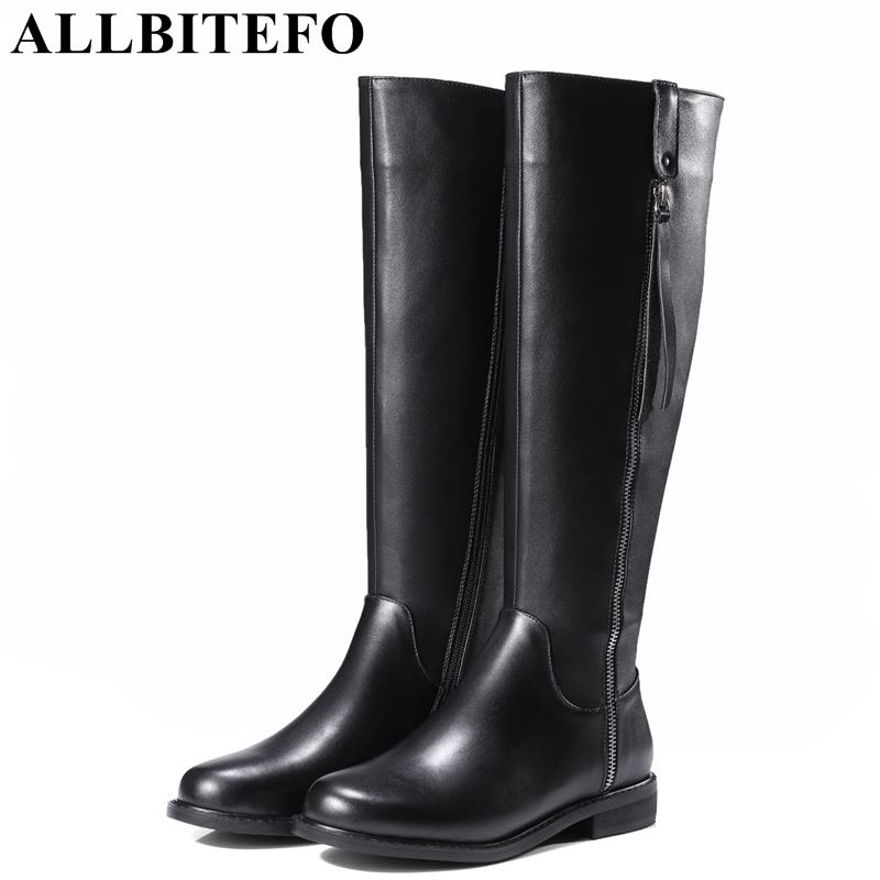 ALLBITEFO 2018 new winter genuine leather thick heel women boots women high heel shoes snow boots women sexy boots size:33-42