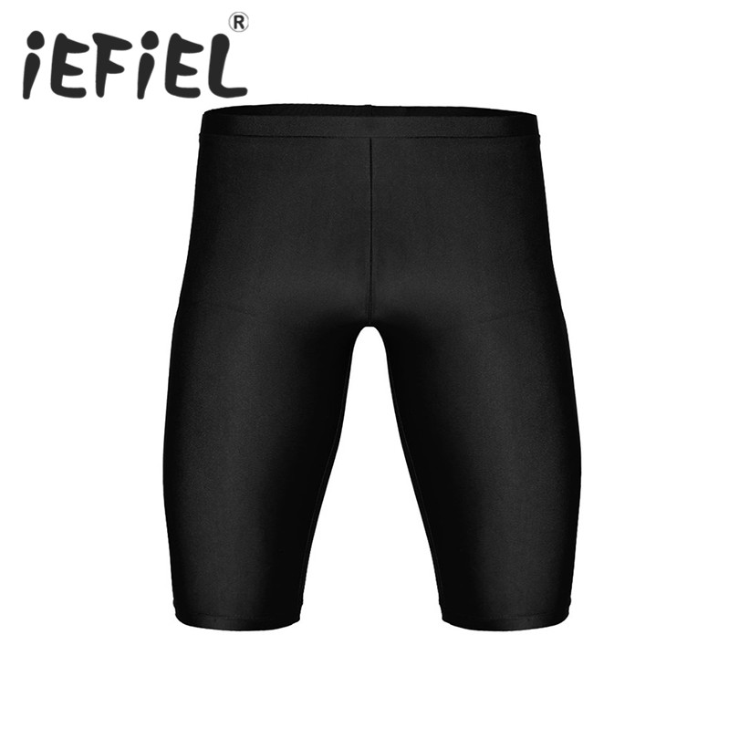 iEFiEL Fashion Mens Summer Elastic Leisure Tight Shorts Quick Dry Compression Workout Gyms Fitness Short Sweatpants 3/4 Trousers