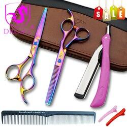 Tijeras de corte de pelo de Japón de gran calidad, tornillo gema tijeras de peluquería profesionales de 6,0 pulgadas