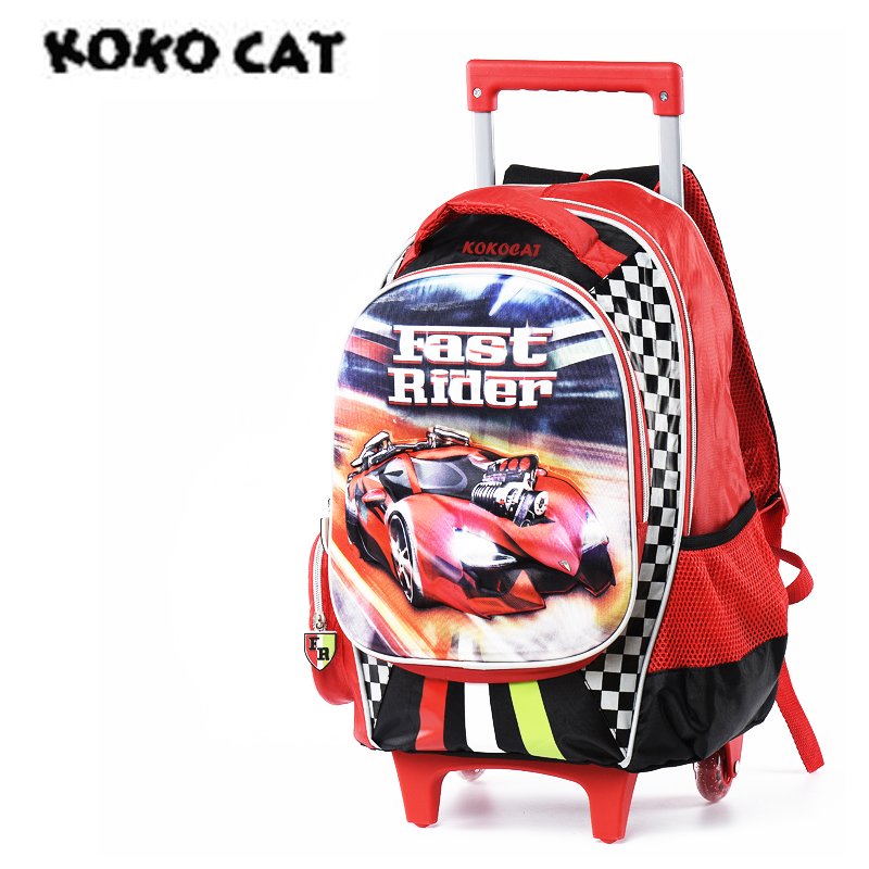 Cartoon 3D Kids Children School Trolley Bag Racing Car Bags Boys Bookbag School Trolley Bag For Teens Boys Student Bag