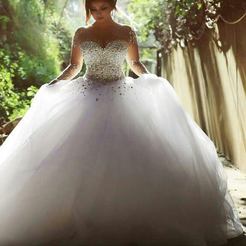Aliexpress.com : Buy WD004 wedding dresses bling ball gown white ...
