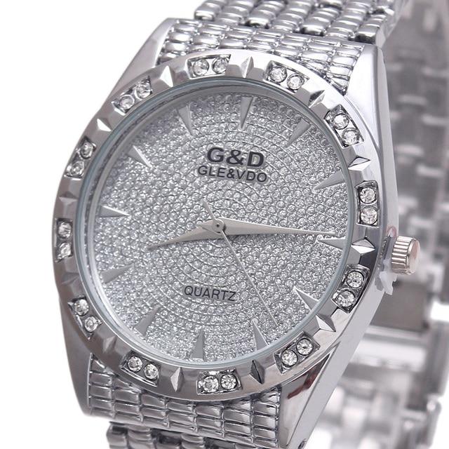 3d7ac8326 G & d أعلى ماركة فاخرة النساء سوار الساعات الكوارتز ساعة اليد الذهبية الصلب  relojes موهير