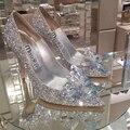 Острым Носом Белый Кристалл Высокие Каблуки Женская Обувь Стразами Алмаз Свадебные Туфли Свадьбу Платье Насосы Женщина Большой Размер 41