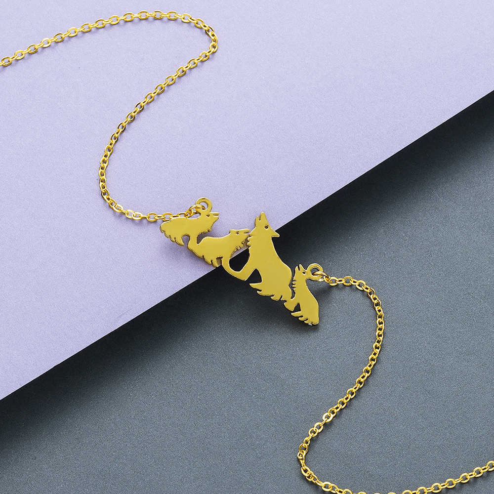 Chandler стальной волк мать ожерелье чокер мать и ребенок ожерелья с лисами подарок на день матери подарок для мамы животное семья ювелирные изделия