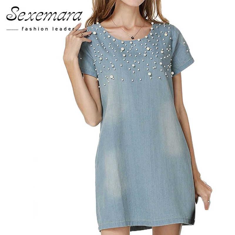 8aa927722d0 Женское летнее платье Vestidos джинсовый сарафан женское повседневное  джинсовое платье 2018 плюс размер весенний стиль бисервечерние