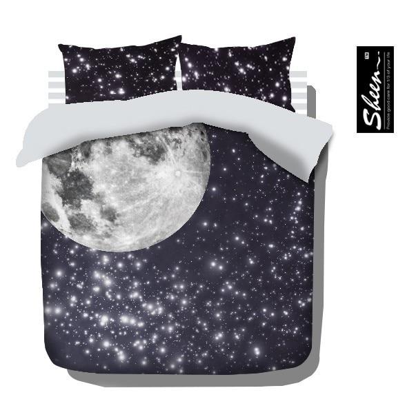 Gwiazda księżyc pościel ustawia król królowa pełny rozmiar kołdra kołdra okładka narzuty łóżko w torbie spódnica wyposażone arkuszy sypialnia pościel szczotkowanego