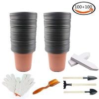 BAKHUK 100Pcs 4 Plastic Flower Nursery Pots Seeding Pot 100 White Plant Labels 1 Pair Gardening