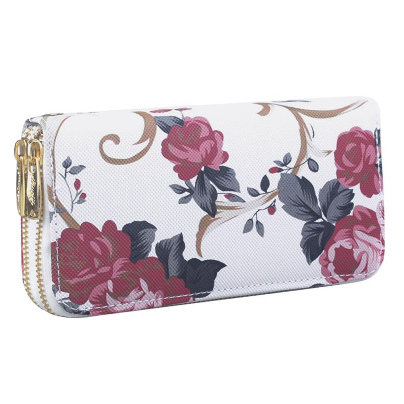 Wallet Female Women Leather Handbags Long Wallet Women'S Purse Floral Money Bag Organizer Card Holder  Carteira Feminina #415