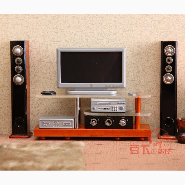 1/12 Scale Miniature Dollhouse Hi-fi TV Home Theater Combo for Play Dolls House Living Room Furniture Accessories Toys