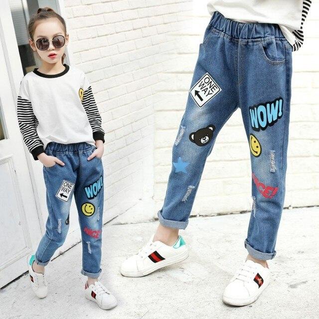48c2cd22357d Children Graffiti Soft Jeans Girls Cotton Trousers Fashion Spring ...