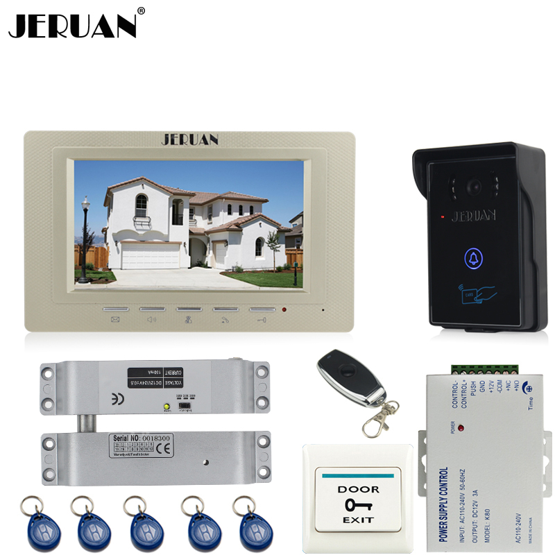 JERUAN luxury 7`` Video Intercom Video Door Phone System+700TVL RFID Access Waterproof Touch key Camera+Electric Bolt lock jeruan 7 inch video door phone intercom system kit rfid touch key waterproof access camera 180kg magnetic lock remote control