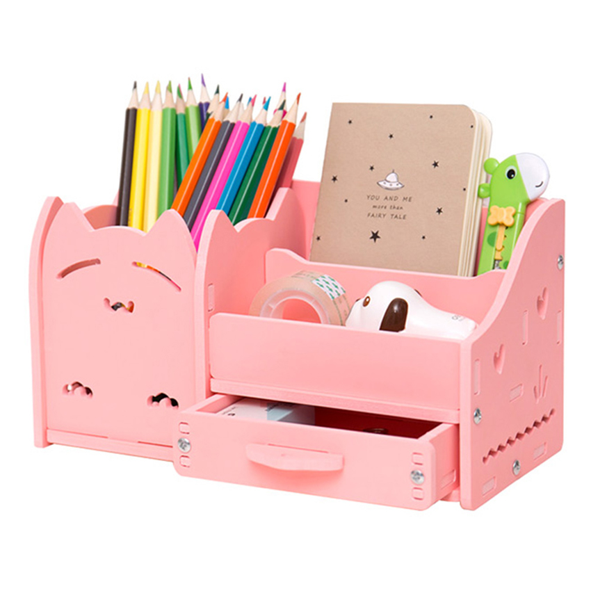 Multi - Functional Pen Holder Students Cute Desktop Wood Accessories Stationery Barrels Storage Box