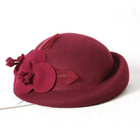 Fibonacci Women Wool Felt Fedora Hat Noble Elegant Bride Headdress Dinner Party Wedding Hats