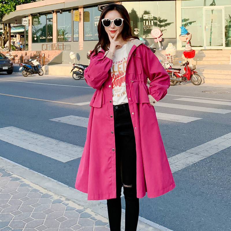 2019 Fashion Long   Trench   Coat Women Spring Autumn Full Sleeve Adjustable Waist Windbreaker Ladies Loose Casual Solid Overcoat
