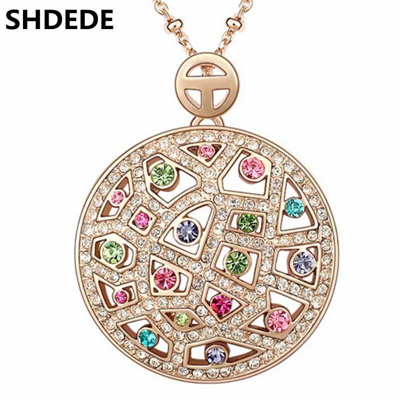 SHDEDE High Quality Crystal from Swarovski Vintage Necklaces Pendants Big Round Fashion Jewelry 2018 Trendy Women Choker -3537