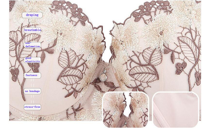 new fashion style embroidery push up bra big size female underwear bralette thin cup brassiere lingerie bras for women 4
