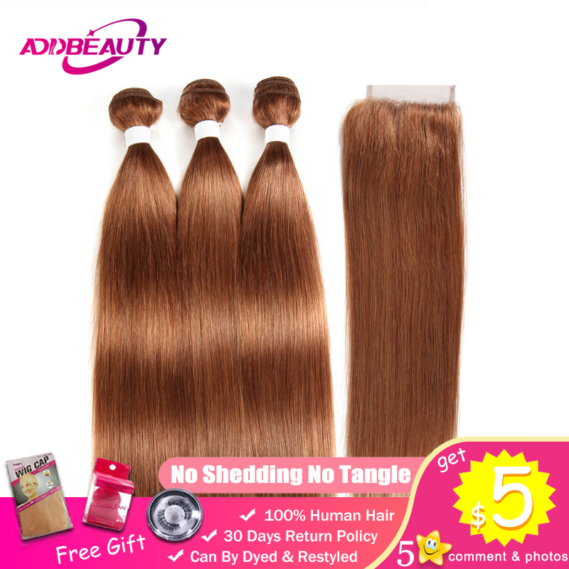 Human Hair Bundles With Closure 30 Color Honey Blonde Light Brown Pre colored 4x4 Lace Brazilian Straight Remy Free Middle Part-in Salon Bundle Pack from Hair Extensions & Wigs    1