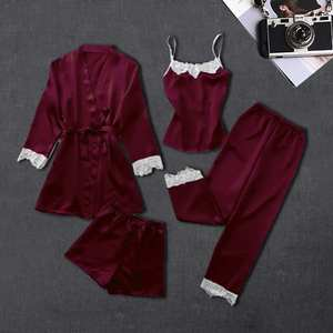 Sexy Women's Robe & Gown Sets Lace 4 Four Pieces Sleepwear Womens Nightwear Sleep Set Faux Silk Robe Femme Lingerie Suits 2019