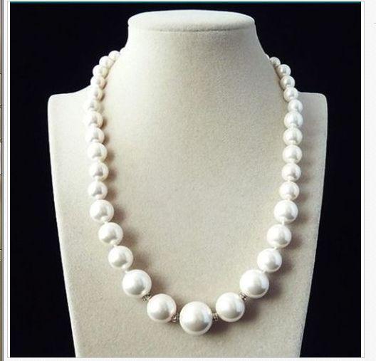 Collier de perles rondes blanches deau douce classique 12-13mm 20 pouces 925 argentCollier de perles rondes blanches deau douce classique 12-13mm 20 pouces 925 argent