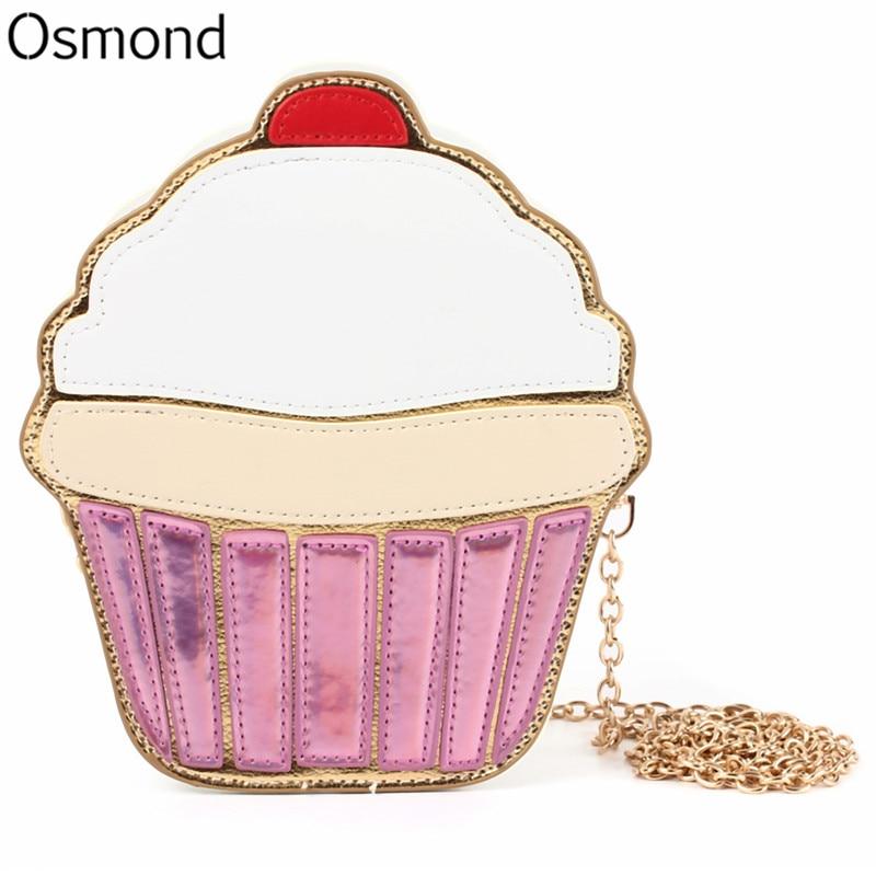 8df4c5cbdbce0 Osmond Women Shoulder Bag Girl Cupcake Chain Clutch Crossbody Bags Small  Cute Purse Mini Cream Bag