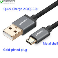Ugreen Powerbank QC2 0 Micro USB Cable For Samsung Galaxy S7 Edge Nylon Braided Metal Quick